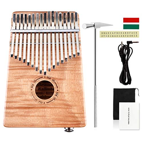 UK Dream Flame Okoume 17 Keys EQ Kalimba,Okoume Wood Electric Finger Thumb Piano Hammer&Android/iOS APP Tuning With Audio Interface and Cable UK-K17FMEQ