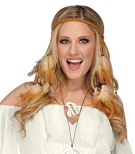 8b539e573ad573 shoperama Geflochtenes Stirnband mit Federn und Perlen für Indianerin oder Hippie  Kostüm: Amazon.de: Spielzeug