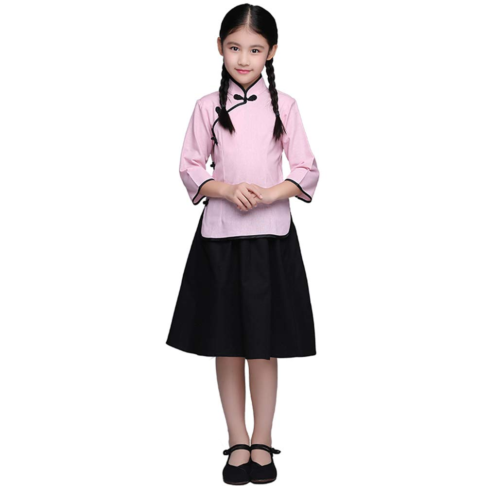 FXNN Republic of China Service - Republic of China Clothing Student May Fourth Youth Costume Clothing (Color : Pink, Size : 120cm)