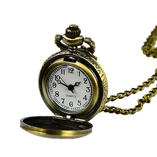 Pendant Quartz Clock - MYEDO Retro Vintage Style Bronze Steampunk Quartz Necklace Pendant Chain Clock Pocket Watch Chinese Zodiac
