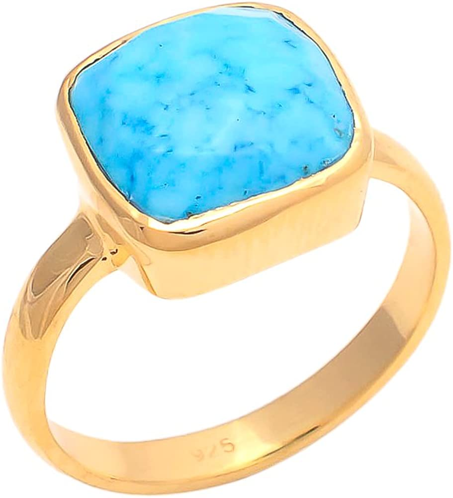Imitation Turquoise 10mm Square Faceted 925 Sterling Silver Gold Plated Bezel Ring
