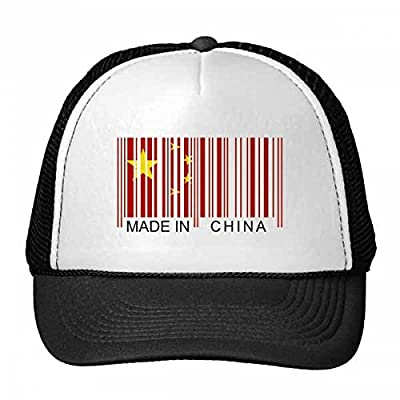 Made in China Bar Code National Flag Stars Red Yellow Chinese Trucker Hat Baseball Cap Nylon Mesh Hat Cool Children Hat Adjustable Cap Gift from DIYlab