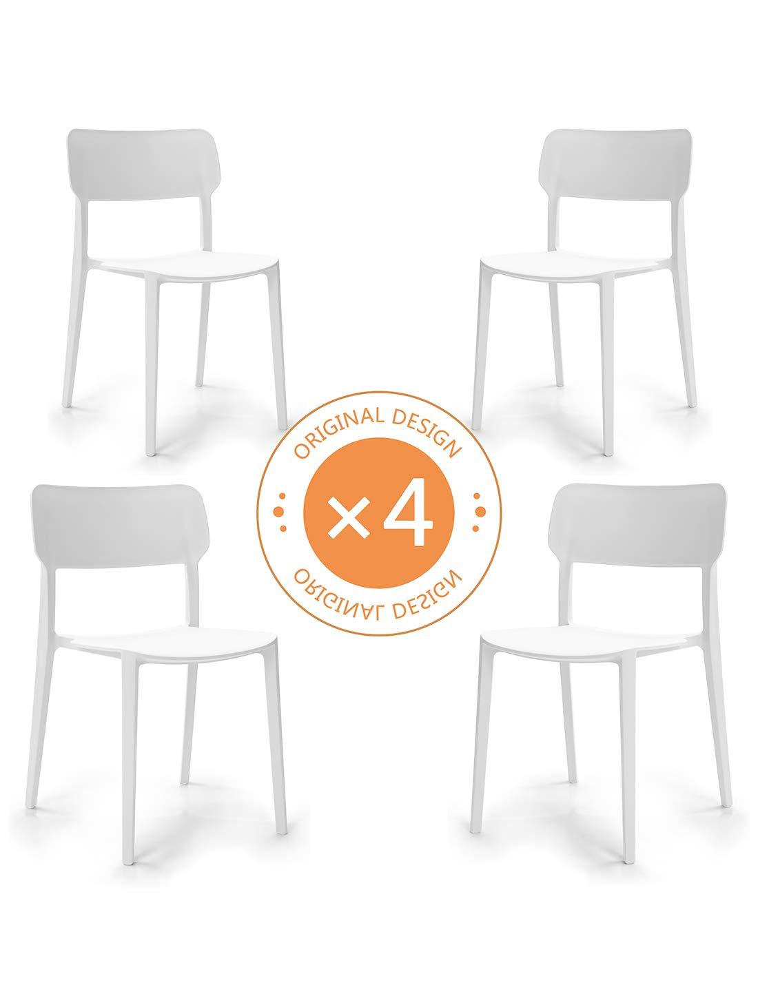 Suhu Stuhl Retro 4er Set Esszimmerstühle Esszimmer Designer Sessel Esstisch Stühle Modern Küchenstühle Stapelstuhl Gartenstuhl Loungesessel Esszimmerstuhl Vintage Schalenstuhl Essstühle Plastik Weiß
