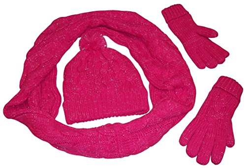 (N'Ice Caps Womens Fleece Lined Cable Knit 3PC Set With Metallic Specks (One size fits all womens, Fuchsia/Metallic)