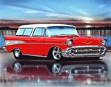 1957 Chevy Nomad Hot Rod Car Art Print Red & White 11x14 Poster