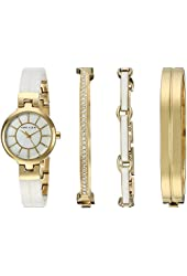 Anne Klein Women's AK/2048GXST Swarovski Crystal Accented Gold-Tone and White Ceramic Watch and Bracelet Set
