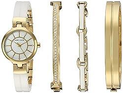 Anne Klein Women's AK/2048GXST Swarovski Crystal Accented Gold-Tone and White Ceramic Watch and Bracelet Set