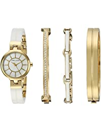 Women's AK/2048GXST Swarovski Crystal Accented Gold-Tone and White Ceramic Watch and Bracelet Set