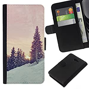 KingStore / Leather Etui en cuir / Sony Xperia M2 / Árboles de la nieve de la montaña Sunrise Sunset;