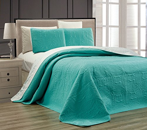 "3-Piece TURQUOISE BLUE / WHITE Oversize ""ORNATO"" Reversible Bedspread KING / CAL KING Embossed Coverlet set 118 by 106-Inch"