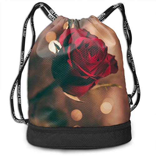 Polyester Drawstring Backpack Theft Proof Water Resistant Large Tote Cinch Sack Large Capacity For Basketball, Volleyball, Sports & Workout Gear (Red Rose Romance) -
