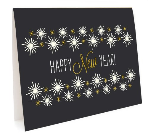 Golden New Year Holiday Cards, 10-Pack by Night Owl Paper Goods ()
