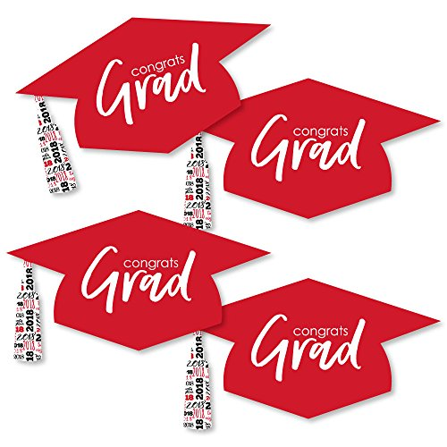Red Grad Hat - Best is Yet to Come - Graduation Hat Decorations DIY Red 2018 Graduation Party Essentials - Set of (Graduation Decorations Diy)