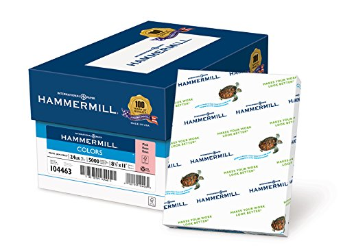 Hammermill Paper, Colors Pink, 24lb, 8.5 x 11, Letter, 5000 sheets / 10 ream Case (104463C), Made In The USA