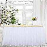 table decorations for christmas Haperlare 9ft Tablecloth White Tulle Table Skirt Tulle White Tablecloth Tutu Tablecloth Skirting with Gold Brim for Wedding Party Baby Shower Christmas Birthday Banquet Table Decorations,3 Yards