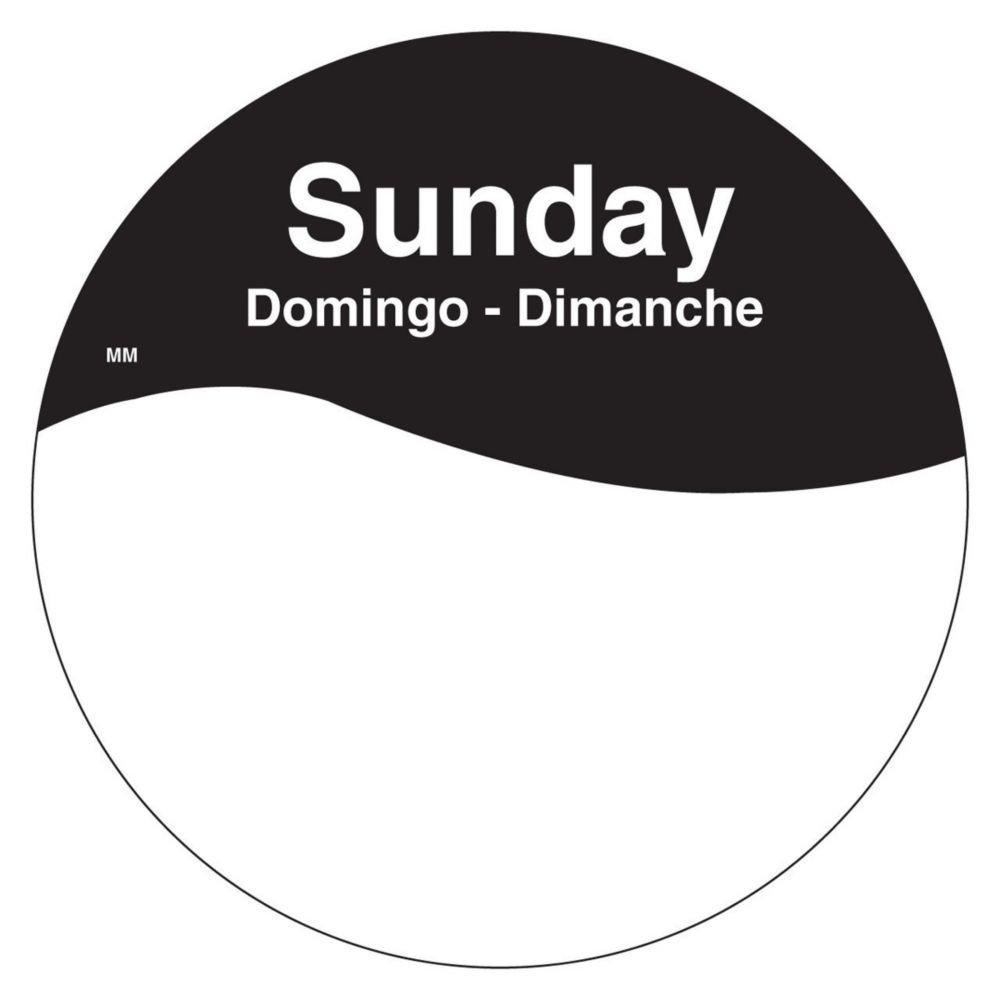 DayMark 1101087 MoveMark Trilingual 3'' Sunday Day Circle - 500 / RL