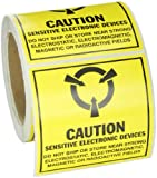 Brady SL-6 Tamper-Evident Paper Static Awareness Labels , Black On Yellow,  4.000'' x 4.000'' (101.600 Mm x 101.600 Mm),  Legend ''Caution Sensitive Electronic Devices (MIL Std. 129J Symbol)''  (250 Labels per Roll, 1 Roll per Package)