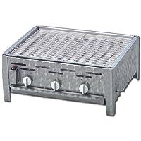 Tischbräter silber klein Tableroaster Balkon 2+1 Gas Brenner 3-flammig ✔ eckig ✔ Grillen mit Gas ✔ für den Tisch