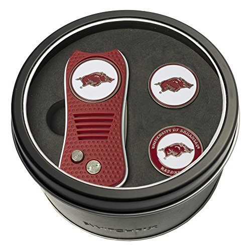 - Team Golf NCAA Arkansas Razorbacks Gift Set Switchblade Divot Tool with 3 Double-Sided Magnetic Ball Markers, Patented Single Prong Design, Causes Less Damage to Greens, Switchblade Mechanism