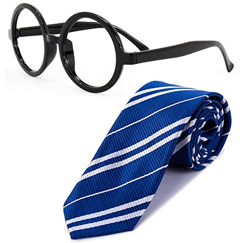 Sawaruita Striped Tie with Novelty Glasses Frame, for School \Christmas\ Cosplay Costumes Accessories, Suit Kids Teens、Women and Men (Navy Blue)