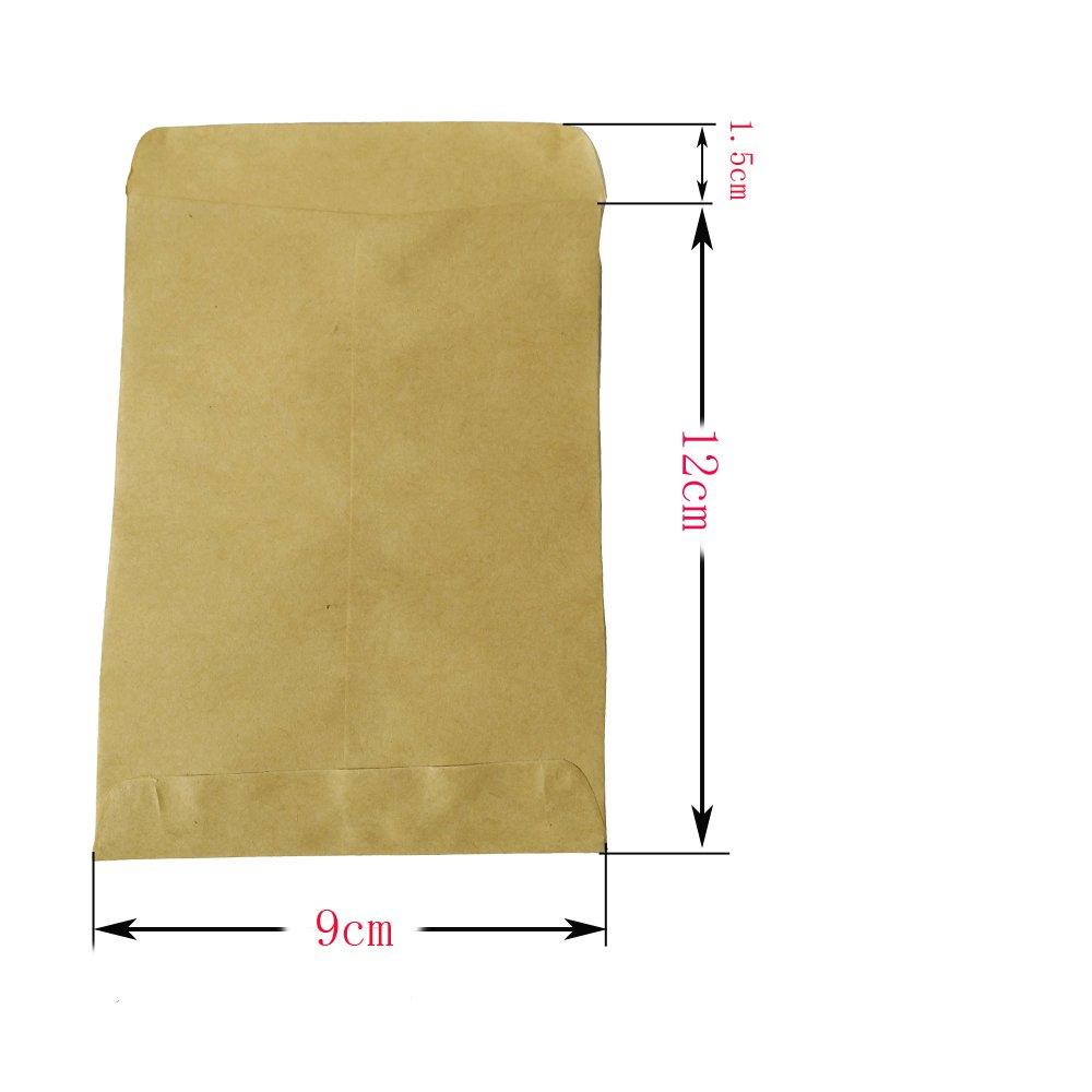 100pcs 9*13CM Bolsas Bolsitas Papel Kraft Pequeño Marrón Estraza Alimentos Bolsitas Mini Papel Paquete para Semilla Regalo Joyería Caramelos + (4.5cm) ...