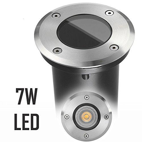 LED Bodeneinbaustrahler Set mit LED GU10 Markenstrahler von LEDANDO - 7W - 530lm - warmweiß - rund - IP65 - Blende Edelstahl 316 - belastbar 1t - 50W Ersatz - 30° Abstrahlwinkel - A+ [Bodeneinbauleuchte Bodenleuchte Bodenlampe]