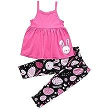 Daoroka Newborn Infant Baby 2PC Set Boys Girls Easter Eggs Cartoon Rabbit Printed Dress Pants Set Cute Sleeveless Fashion Outfits (5T/130, Pink)