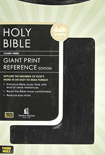 KJV GIANT PRINT REFERENCE BIBLE - BLACK LEATHERFLEX - INDEXED