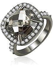Mestige Black Memoir Ring with Swarovski Crystals