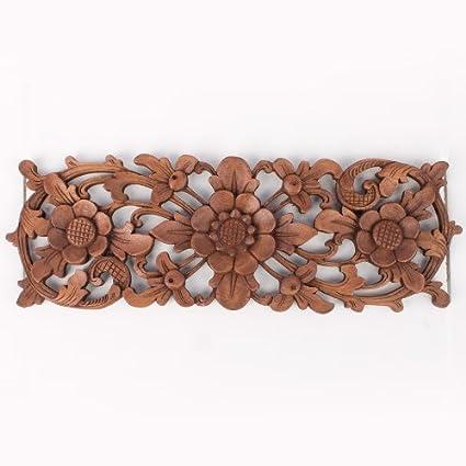 Amazon.com: Balinese Traditional Lotus Flower Carved Wood Panel Bali ...