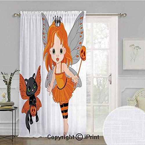 Halloween Extra Wide Chiffon Sheer curtain,Halloween Baby Fairy
