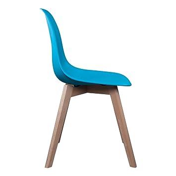 The Concept Factory Chaise Scandinave Coque Polypropylne Bleue Canard