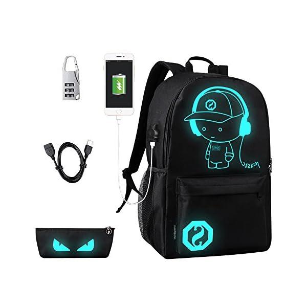 Anime di moda zaino, Impermeabile Ragazzi Borse Scuola Luminoso con Porta di Ricarica USB Lock Antifurto Viaggio Zaino… 1 spesavip