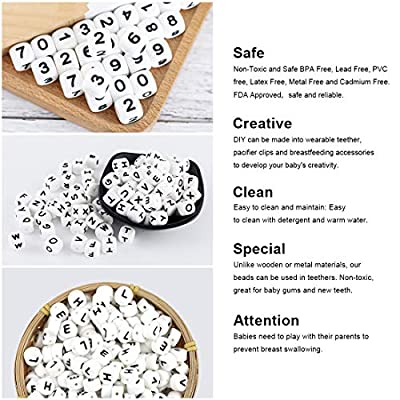 52pc Silicone Bead in 26 Letters BPA Free Silicone Chew Jewelry Making Beads DIY Beads Alphabet Cube Shaped Food Grade : Baby