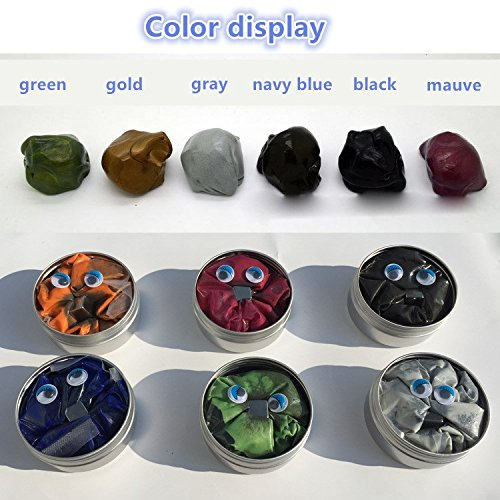 GracesDawn 6 Set Magnetic Putty Slime Super Stress Reliever Infused with Iron Relaxing Fun A Set of A Set of 6 Boxes, 6 Colors(Gold,red,Green,Gray,Navy Blue,Black,Mauve Once to Meet All - Gray Black Putty
