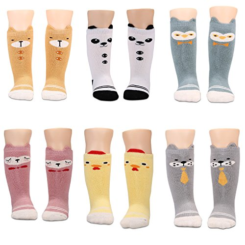 Baby Boys Girls Socks 6 Pairs Thick Warm Cotton Socks (Anti-slip 6-18 Mounths Old) (Ideas Gift 1)