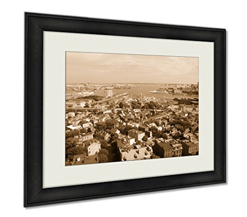 Ashley Framed Prints Boston Inner Harbor Boston Waterfront Skyline And Logan International Airport, Wall Art Home Decoration, Sepia, 30x35 (frame size), - Airport Shops Logan Boston