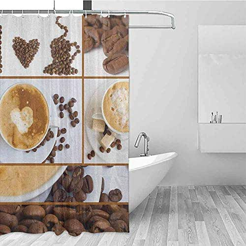 SONGDAYONE Wrinkle-Free Shower Curtain Kitchen Coffee Themed Collage of Beans Mugs Hot Foamy Drink with a Heart Macro Aroma Photo Easy to Care Brown White W36 xL72