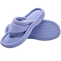 6a64692f6bc106 Wishcotton Women s Classic Memory Foam Spa Thong House Shoes Fluffy Flip  Flop Slippers