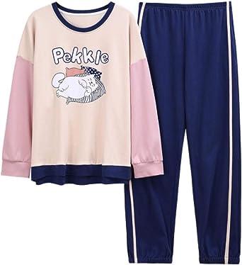 Pijamas para Mujer, Algodón Dibujos Animados Gato Animal Ropa De Dormir Manga Larga Y Pantalones Niña Pjs Ropa De Dormir Mezcla De Colores XL: Amazon.es: Ropa y accesorios