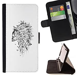 BullDog Case - FOR/Samsung Galaxy Note 3 III / - / SKULL INDIAN HEADGEAR FEATHER WHITE /- Monedero de cuero de la PU Llevar cubierta de la caja con el ID Credit Card Slots Flip funda de cuer