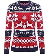 iClosam Maglione Natalizio Unisex Donna Uomo Invernale Stampare Cotone Ugly Sweater Pullover in M...