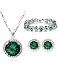 18 ct Gold Plated Zirconia Austrian Crystals Green Simulated Emerald Set Necklace Earrings Bracelet