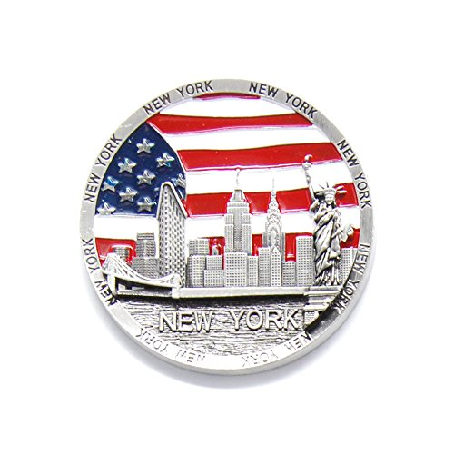 Circle US Flag New York Souvenir Fridge NY Magnet - US Flag,Statue of Liberty,Empire State Building,Brooklyn Bridge,NYC Magnet Metal (Pack 1) (Refrigerator York Magnet New)