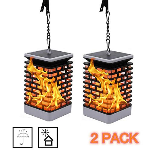 UPEOR Solar Flame Lights Solar Flame Hanging Lantern Dancing Flame Outdoor Hanging Lanterns Lights Night Light Auto Sensor for Garden Patio Yard(2 PCS)