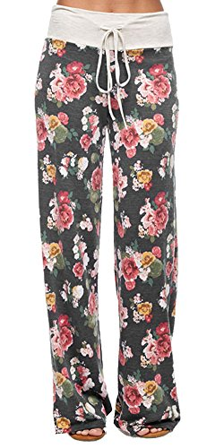 Marilyn & Main Women's Comfy Soft Stretch Pajama Pants,Charcoal Floral,Large