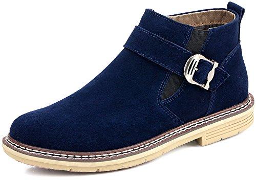 JiYe Casual Chelsea Ankle Boots Zipper Men Suede Leather,Grey,Blue,11US-Men