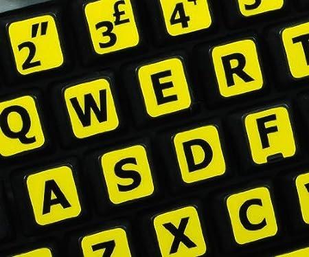 Qwerty Keys Inglés Reino Unido Grandes Letras (mayúsculas) Pegatinas de Teclado no Transparentes de Color Amarillo con Letras Negras Letras: Amazon.es: ...