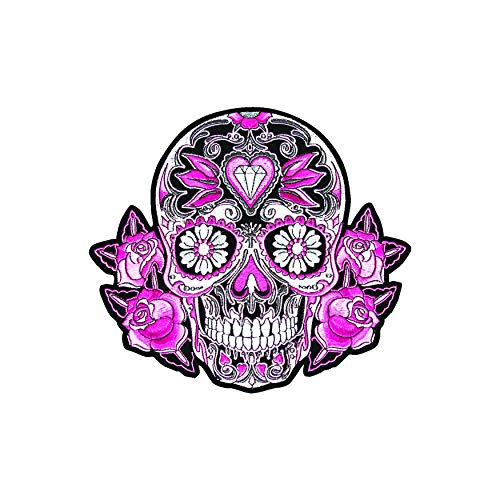 - Stick It On Decals Pink Roses Sugar Skull/Calavera Car Decal/Sticker