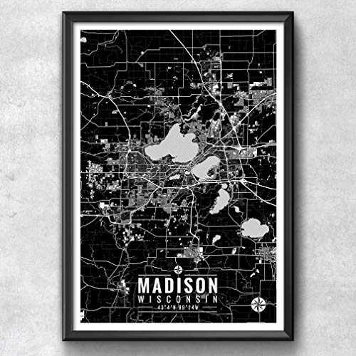p with Coordinates, Madison Map, Map Print, Madison Print, Madison Art, Madison Gift, Madison Decor, Madison Wisconsin, Map Art ()